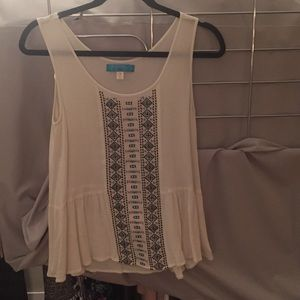 Francesca's Embroidered Sleeveless Blouse